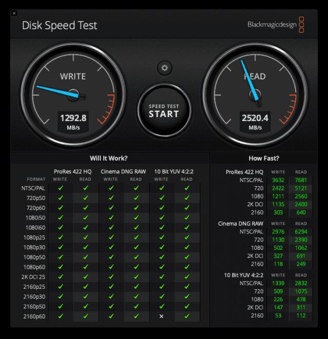 Szybkość dysku (SSD NVMe) w moim laptopie. Screen - DiskSpeedTest