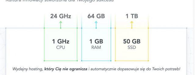 Przejrzyste pokazanie CPU i RAM w hostingu.