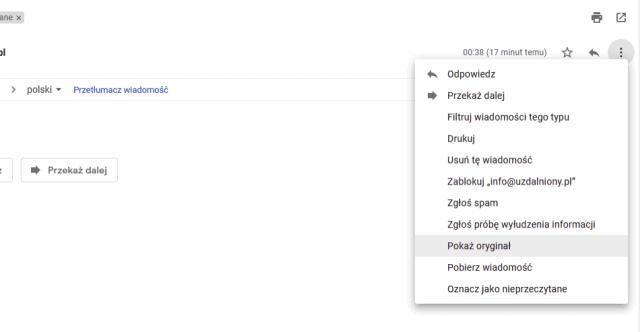 Gmail -> pokaż oryginał wiadomości e-mail