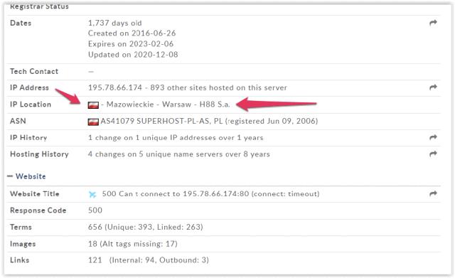 Lokalizacja adresu IP hostingu: Polska
