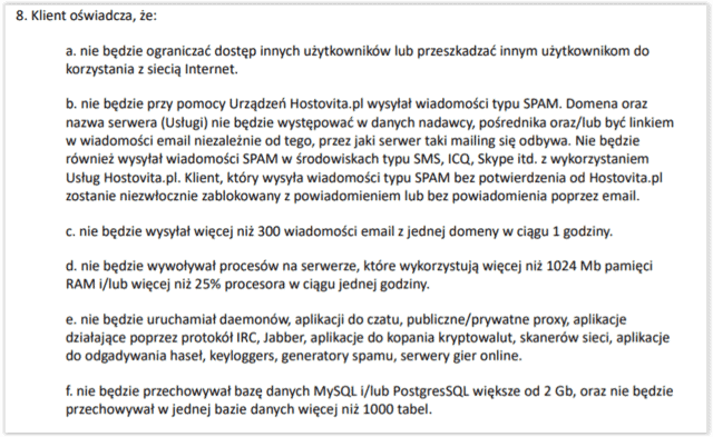 Hosting SSD bez limitu dysku - regulamin c.d.