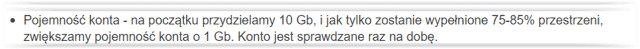 Hosting SSD bez limitu dysku - specyfikacja