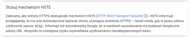 Rekomendacja Google w zakresie HSTS