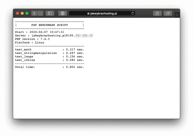 PHP benchmark Script - wynik w przeglądarce