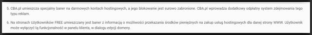 Regulamin darmowego hostingu CBA.pl