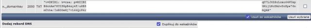 Rekord DKIM wpisany do DNS w DirectAdmin