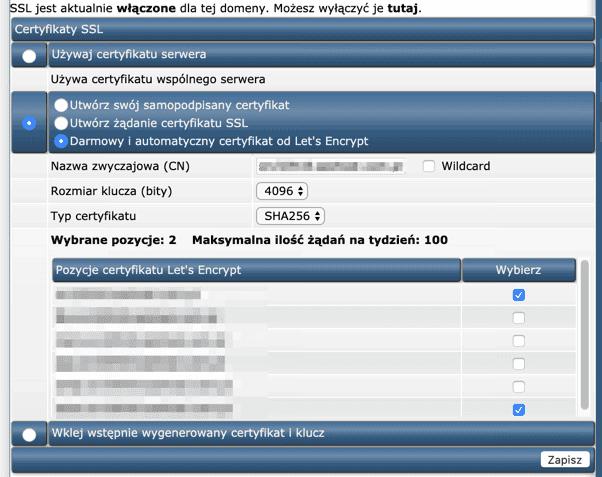 Uruchamianie darmowego certyfikatu SSL w SeoHost