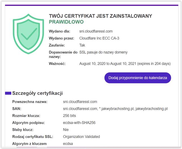 Wynik sprawdzania SSL