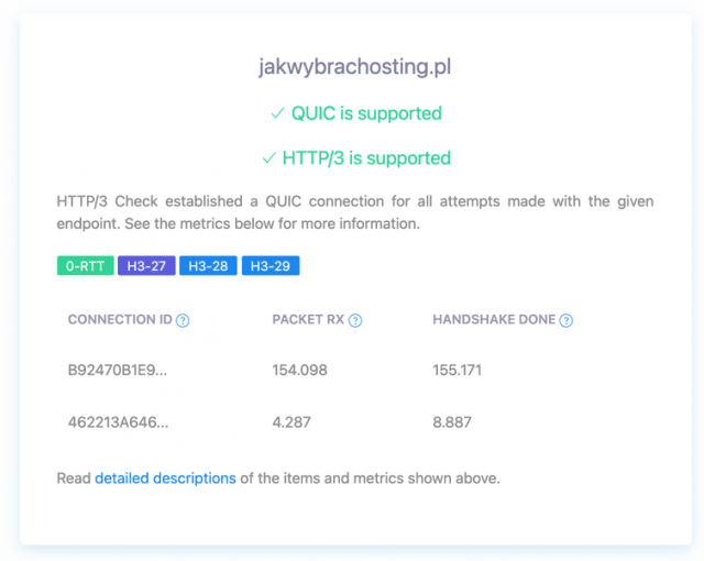 Wynik testu: jakwybrachosting.pl używa HTTP/3