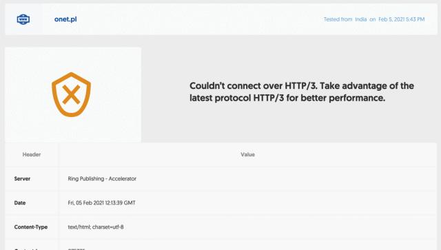 Wynik testu: onet.pl nie używa HTTP/3