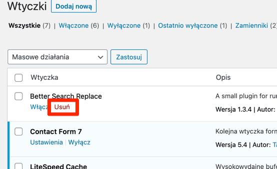 Usuwanie Better Search Replace w WordPressie