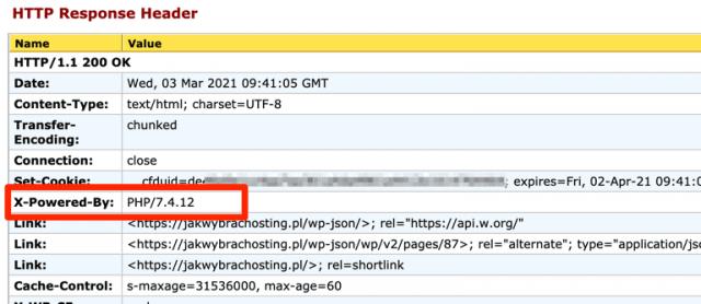 Wersja PHP w nagłówkach HTTP