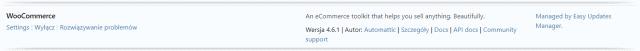 Aktywowana wtyczka WooCommerce w panelu WP