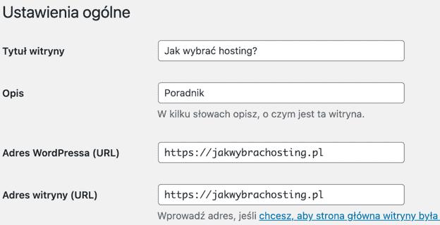 Adres strony zaczynający się od https:// w ustawieniach WordPressa
