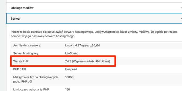Wersja PHP w WordPressie