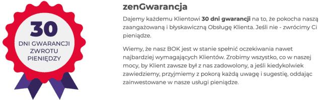 30-dniowa gwarancja satysfakcji w Zenbox